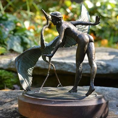 """Athena Dances with her Heron, 2010, Bronze on Walnut, 7"""" x 8"""" x 6"""""""