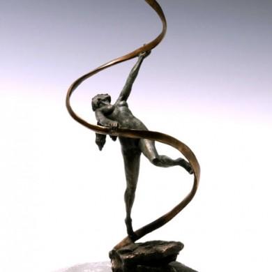 """Gaia, 2010, Bronze on Field Stone, 15"""" x 8"""" x 8"""""""