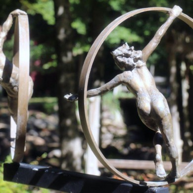 """Lost and Found, 2000, Bronze on Steel, 72"""" x 35"""" x 35"""""""