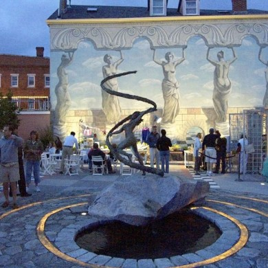 "Gaia, 2005, Bronze on Granite, 132"" x 96"" x 96"""