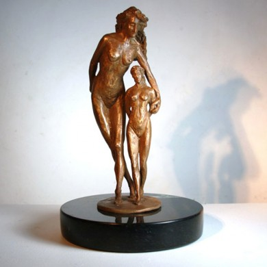 Conversation with My Higher Self, 2011, Bronze on Marble, 12 &quot x 6 &quot x 6 &quot