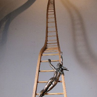 """The Path, 2013, Bronze and Birch on Marble, 58"""" x 10"""" x 24"""""""
