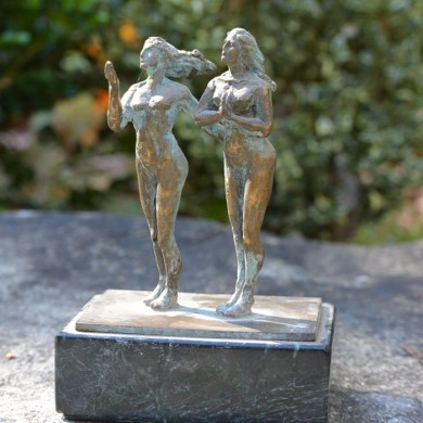 "Teacher and her Student, 2010, Bronze on Marble, 6"" x 4"" x 3"""