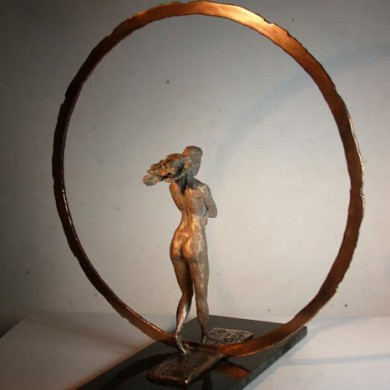 """Solitary Journey, 2012, Bronze on Marble, 14"""" x 14"""" x 10"""""""