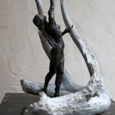 "I and Thou, 2015, Bronze on Marble, 14"" x 12"" x 10"""
