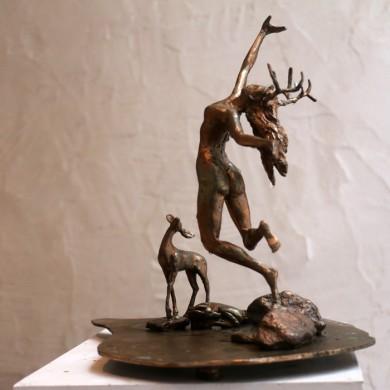 "Artemis Dances for the Fawn, 2010, Bronze, 12"" x 12"" x 8"""
