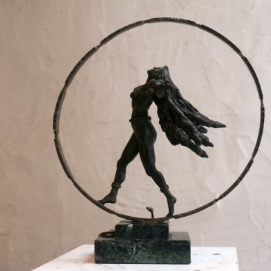 "Kali on the Wheel of Time, 2010, Bronze on Marble, 12"" x 11"" x 5"""