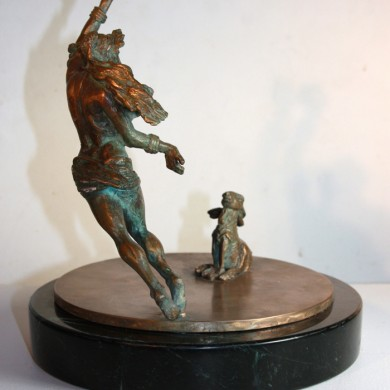 "Tara and the Moonstruck Hare, 2010, Bronze on Marble, 8"" x 7"" x 7"""