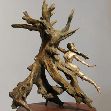 "Galadriel Dances the Ent, 2013, Bronze on Walnut, 14"" x 12"" x 12"""