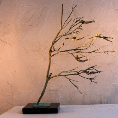 "Letting Go, 2012, Bronze on Marble, 26"" x 15"" x 15"""