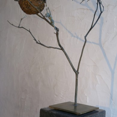 "When the Water Rises, 2015, Bronze on Marble, 22"" x 17"" x 18"""