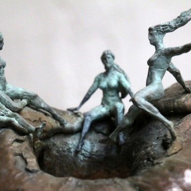 "Forest Council, 2015, Bronze on Granite, 9"" x 10"" x 10"""